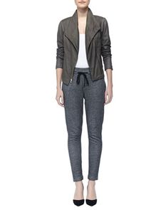 Paper Asymmetric Leather Jacket & Piped Drawstring Sweatpants by Vince at Neiman Marcus.