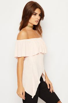5015bd09e57bfd Delilah Peplum Off Shoulder Crepe Frill Top