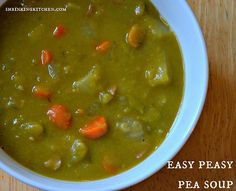 A perfect dinner (or lunch) on a blustery day, this pea soup is easy, warming and scrumptioius!