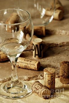 Wine Glass And Corks by HD Connelly with Pin-It-Button on FineArtAmerica