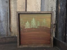 Rustic Home Decor - Tree Art - Primitive - Engraved Art - Landscape Painting - Wall Art - Framed Art - Cabin Decor - Minimalist Art
