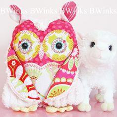 Petite Stuffed Owl Friend - Pink Chenille Owl Pillow. $32.00, via Etsy.