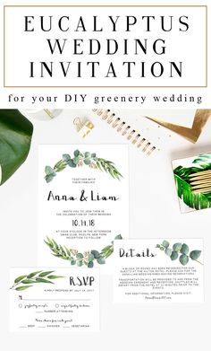 Give the perfect first statement of your big day to your loved ones with this watercolor eucalyptus wedding invitation suite. // Greenery Wedding Invitations // Wedding Invitations DIY // Wedding Invitations Watercolor // Wedding Invitations Templates // Green Wedding Theme // #weddinginvitations #greenwedding #greenerywedding #watercolorwedding #watercolorleaves #eucalyptus