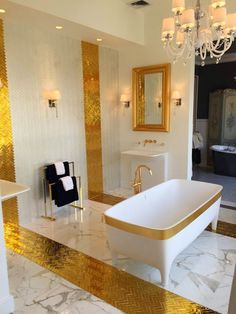 10 Glamorous Luxury Bathrooms with Golden Touch ➤To see more Luxury Bathroom ideas visit us at www.luxurybathrooms.eu #luxurybathrooms #homedecorideas #bathroomideas @BathroomsLuxury