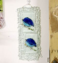 Hand Painted Blue Bird  fused glass art Wall Decor by virtulyglass, $48.00