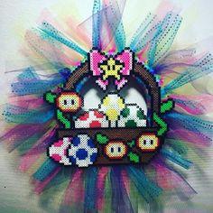 Mario Easter basket wreath perler beads by littlelamb579