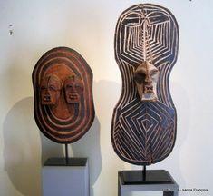 Songye shilds showing kifwebe masks. D.R. Congo. => Parcours des Mondes 2016 - galerie Didier Claes