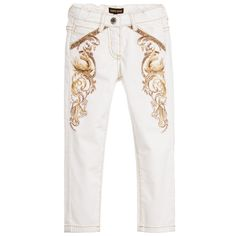 Roberto Cavalli Girls White Trousers with Gold Baroque Swan Print  at…