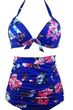 COCOSHIP Retro Black Pink Blue Floral Halter High Waist Bikini Set Halter Carnival Swimsuit(FBA) *** Click image for more details. (This is an affiliate link) Haut Bikini, Bikini Set, Bikini Swimsuit, Floral Bikini, Black Swimsuit, Bikini Bottoms, Bikini Tops, Swimsuits For Tweens, Women Swimsuits