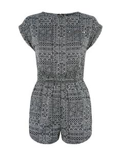 The only question when it comes to this Teens Black Zip Pocket Tile Print Playsuit is which jacket: denim or biker?