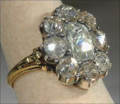 Phenomenal early Rose Cut diamond cluster ring.  Large and important Georgian ring dates to about 1790.