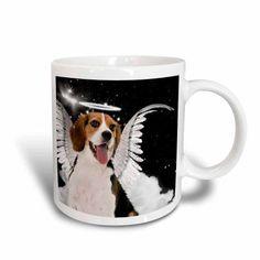 3dRose Beagle Angel Dog with clouds, a cute Halo and Angel Wings, Ceramic Mug, 11-ounce