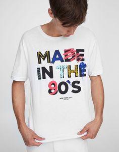 Pull&Bear - hombre - ropa - camisetas - camiseta print texto 90s - blanco - 09233586-I2017