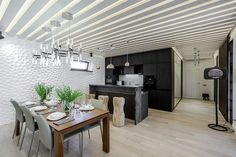 """Мятая стена"" в кухне из гипсовых 3D панелей Room Divider, Decor, Furniture, Kitchen, Home, Interior, Kitchen Island, Home Decor, Room"