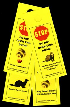 Ferret Friendly Door Alerts Keeps Your Small Pet Safe by KnobNots, $16.00