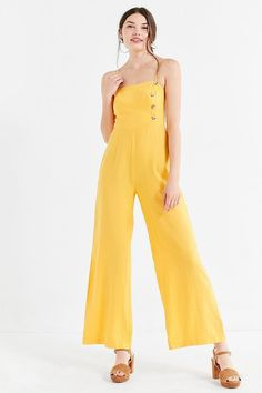 51b6771b65d Urban Outfitters UO Straight-Neck Linen Button-Down Jumpsuit Yellow Jumpsuit