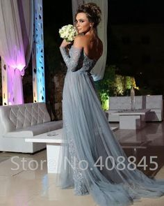 vestido longo Gray Tulle Long Evening Dresses Sexy Off the Shoulder Lace Long Sleeve Prom Dress High Slit Beading Party Dress