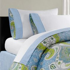 The Sardinia Collection offers bright, bold colors in an over-scaled paisley print motif. This sheet set is made from 230 thread count cotton sateen and features a printed blue pieced cuff on the pillowcases. Echo Bedding, Queen Bedding Sets, Comforter Sets, 100 Cotton Sheets, Cotton Sheet Sets, Queen Sheets, Bed Sheets, Bed N Bath, Restoration Hardware Bedding