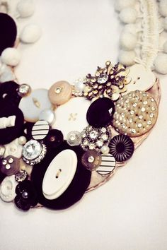 Button and earring necklace. FINALLY, a purpose for all the bits I have waiting to be made into something!