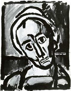 Georges Rouault: Qui ne se Grime pas   ink, gouache, oil