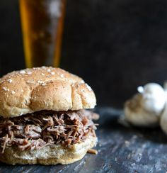Crockpot Brown Sugar + Roasted Garlic Pulled Pot Roast Sandwiches ~ Slow Cooker Taste