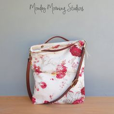 Red Shabby Rose Tote Adjustable Leather by MondayMorningStudios