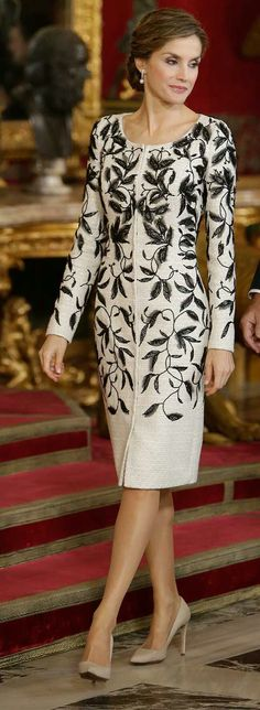 Queen Letizia - Felipe Varela leaf design - white tweed coat dress with black hand embroidered crystal and georgette.