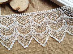 Cotton Crochet Lace Vintage Cotton Lace White by prettylaceshop