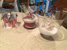 Couple of updates winter scene decor vases.