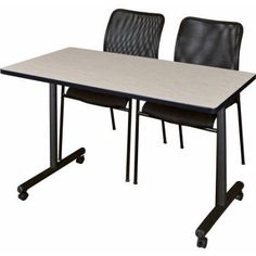 Kobe 48 inch x 24 inch Mobile Training Table and 2 Black Mario Stack Chairs, Multiple Colors, Brown