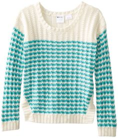 Sweaters Roxy Girls Starling Striped Long Sleeve Sweater Baltic Blue Wavy  Stripe d9acf1ba1
