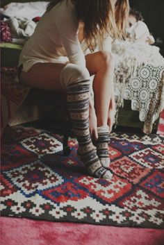 Anonymous + Free People Hunting Fairisle Tall Sock at Free People Clothing Boutique: These socks are awesome! Thigh High Socks, Thigh Highs, Knee Socks, Knee Highs, Fashion Mode, Look Fashion, Fashion Shoes, Looks Style, Style Me