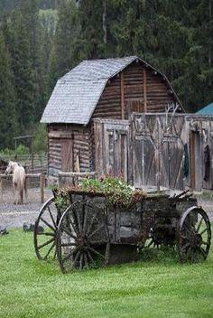Wagon & Horse By Log Barn