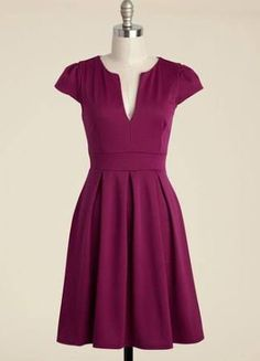 Delight taste-testers left and right as you dole out your perfectly blended punch in this deep-magenta dress. With a V-notched neckline and pleated, flared skirt, this cap-sleeved frock makes you feel as effervescent as your carefully crafted libations. Unique Dresses, Stylish Dresses, Cute Dresses, Casual Dresses, Fashion Dresses, Dresses For Work, Women's Fashion, A Line Dress Work, Dressy Attire