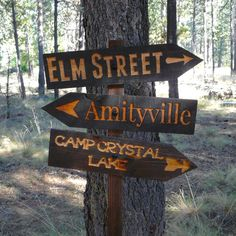 Halloween Lawn Ornament Directional Sign - Amityville Camp Crystal Lake - Carved Cedar Wood - Real Time - Diet, Exercise, Fitness, Finance You for Healthy articles ideas Halloween Tags, Photo Halloween, Halloween School Treats, Halloween Horror, Holidays Halloween, Vintage Halloween, Diy Halloween Signs, Halloween Costumes, Halloween Witches