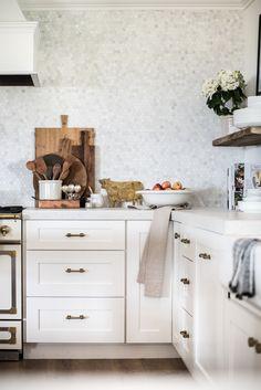 Classic Brass Drawer Pulls in White Farmhouse Kitchen   boxwoodavenue.com