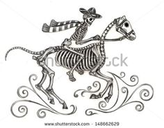 Horse and rider//day of the dead. Hand drawing on paper.