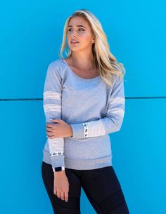 Sophie wearing our Whitsunday jumper Pilates Workout, Gym Workouts, Sports Leggings, Activewear, Jumper, Bra, Rose, Sweaters, How To Wear