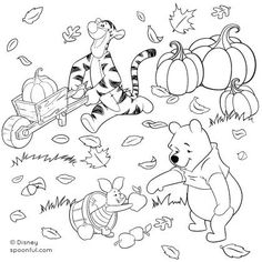 Printable! My little girl will squeal for this! Winnie the Pooh and Friends Fall Coloring Page