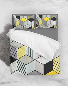 Colorful Concrete Cubes 2 - Yellow, Blue, Gray // Duvet Cover and Pillow Shams by Zoltan Ratko // This pattern design is also available as a wall art, apparel, tech and home product. Scandinavian Pillows, Grey Duvet, Natural Bedding, Cozy Bedroom, Master Bedroom, Linen Bedding, Bed Linens, Nordic Design, Pillow Shams