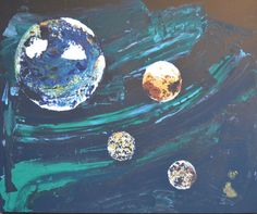 Original planet art: Three moons rising by Ashroc on Etsy