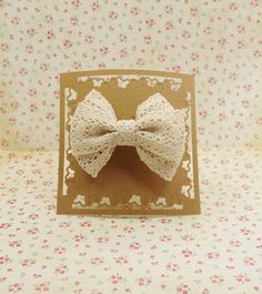 Handmade ribbon hair bow in Lace Beige to Large French Clip #LF006