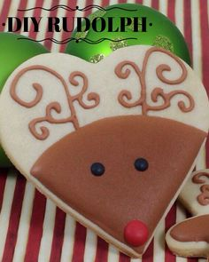 Great way to use a heart-shaped cookie cutter at Christmas. Rudolph Decorated Cookie photo inspiration (winter treats cookie decorating)