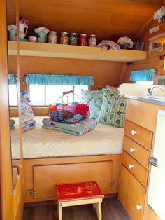 Lori Holliday of 2 Red Hens and her vintage camper were featured in the Aug/Sep/Oct '13 issue of Where Women Create magazine | Photography by Katy DeJong #studio #office #camper