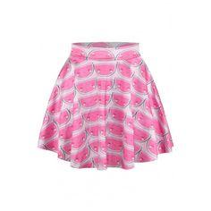 Happy Face Print Elastic Waist Mini Flared Skirt Length: MiniPattern: PrintMaterial: Polyester,Cotton BlendsColor: PinkType: FlaredLength(cm): 40Waist(cm): 62-…