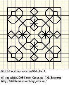 Blackwork Biscornu Side 3, designed by M. Brouwer (Anita), Stitch-Creations blogger.