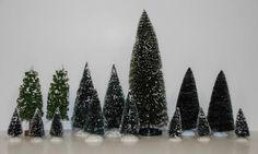 Lot of 15 Dept 56 Christmas Village FROSTED Pine Hemlock #TREES  Accessories