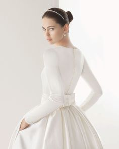 Vintage Elegant Boat Neck Long Sleeve Sash Bow Pockets Long White Muslim Wedding Dress 2015 vestido de noiva