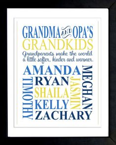 Personalized GRANDPARENT PRINT - with Grandchildren's Names and Birthdates - Completely Customizable - Christmas Gift - Anniversary Gift. $16.00, via Etsy.