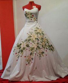 Vestido de novia hecho en manta pintado a mano por Patricia Mendez